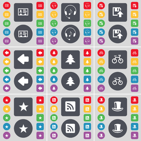 silk hat: Contact, Headphones, Floppy, Arrow left, Firtree, Bicycle, Star, RSS, Silk hat icon symbol. A large set of flat, colored buttons for your design. Vector illustration