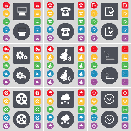 arrow down icon: Monitor, Retro phone, Survey, Gear, Bell, Cigarette, Videotape, Cloud, Arrow down icon symbol. A large set of flat, colored buttons for your design. Vector illustration