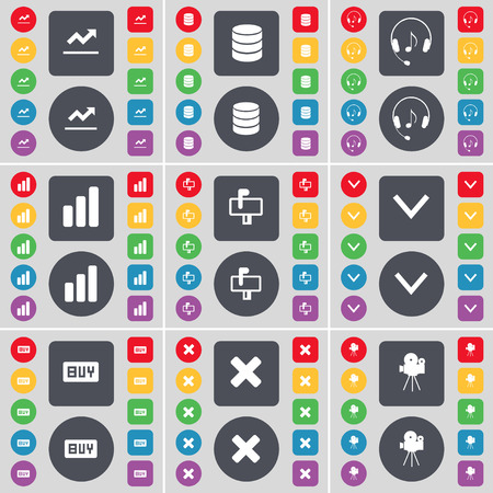 arrow down: Graph, Database, Headphones, Diagram, Mailbox, Arrow down, Buy, Stop, Film camera icon symbol. A large set of flat, colored buttons for your design. Vector illustration Illustration