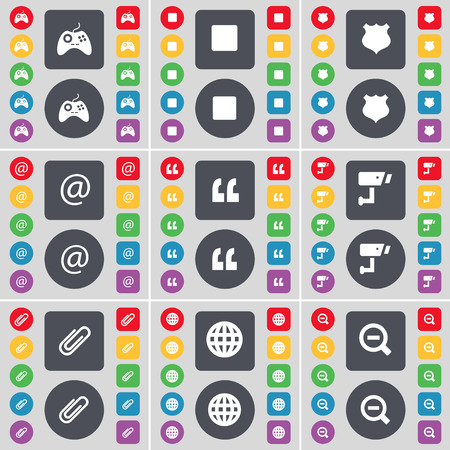 glass badge: Gamepad, Media stop, Police badge, Mail, Quotation mark, CCTV, Clip, Globe, Magnifying glass icon symbol. A large set of flat, colored buttons for your design. Vector illustration