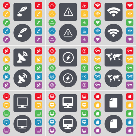 ink pot: Ink pot, Warning, Wi-Fi, Satellite dish, Flash, Globe, Monitor, File icon symbol. A large set of flat, colored buttons for your design. Vector illustration
