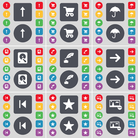 inkpot: Arrow up, Shopping cart, Umbrella, Hard drive, Inkpot, Arrow right, Media skip, Star, Picture icon symbol. A large set of flat, colored buttons for your design. Vector illustration Illustration