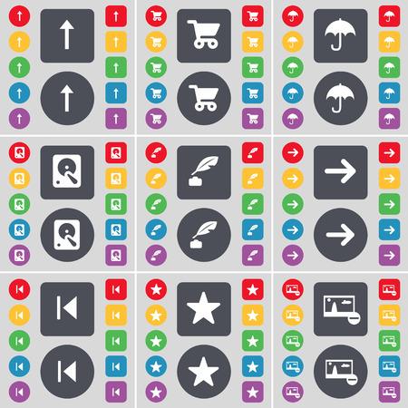 disco duro: Flecha arriba, cesta, Paraguas, Disco duro, Tintero, Flecha derecha, Medios saltar, estrella, imagen icono de s�mbolo. Un gran conjunto de planos botones, colores para su dise�o. Ilustraci�n vectorial