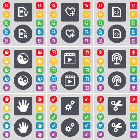 heart gear: Text file, Heart, File, Yin-Yang, Media player, Wi-Fi, Hand, Gear, Scissors icon symbol. A large set of flat, colored buttons for your design. Vector illustration Illustration