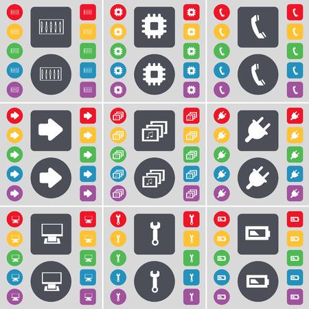 arrow right: Ecualizador, procesador, Receptor, Flecha derecha, Galer�a, Toma, monitor, Llave, Icono de la bater�a s�mbolo. Un gran conjunto de planos botones, colores para su dise�o. Ilustraci�n vectorial