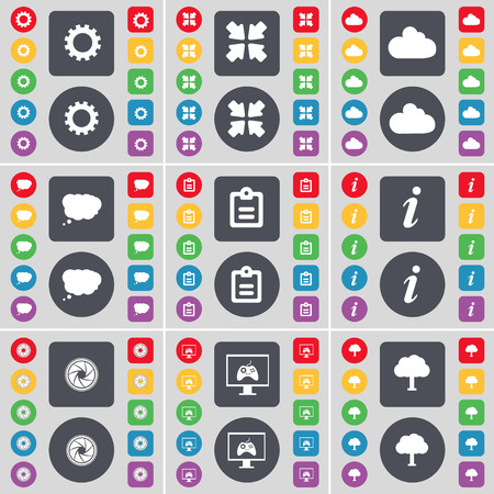 game console: Gear, Deploying screen, Cloud, Chat cloud, Survey, Information, Lens, Game console, Tree icon symbol. A large set of flat, colored buttons for your design. Vector illustration