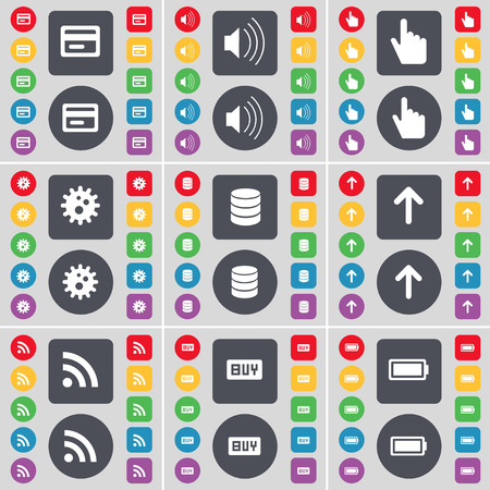 sound card: Credit card, Sound, Hand, Gear, Database, Arrow up, RSS, Buy, Battery icon symbol. A large set of flat, colored buttons for your design. Vector illustration