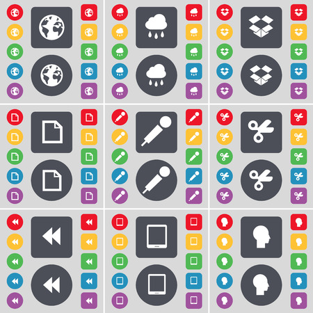 dropbox: Earth, Cloud, Dropbox, File, Microphone, Scissors, Rewind, Tablet PC, Silhouette icon symbol. A large set of flat, colored buttons for your design. Vector illustration