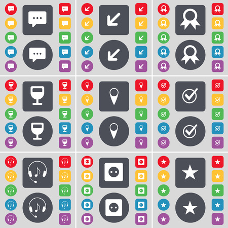 chat bubble vector: Chat bubble, Deploying screen, Medal, Wineglass, Checkpoint, Tick, Headphones, Socket, Star icon symbol. A large set of flat, colored buttons for your design. Vector illustration