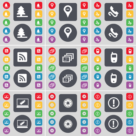 firtree: Firtree, Checkpoint, Receiver, RSS, Gallery, Mobile phone, Laptop, Lens, Warning icon symbol. A large set of flat, colored buttons for your design. Vector illustration