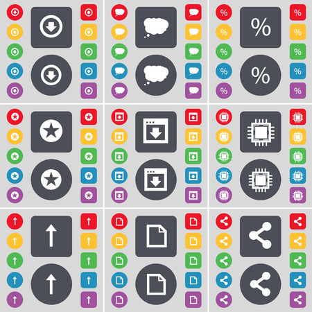file share: Arrow down, Chat cloud, Percent, Star, Window, Processor, Arrow up, File, Share icon symbol. A large set of flat, colored buttons for your design. Vector illustration Illustration