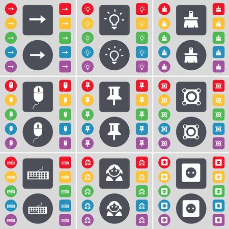enchufe de luz: Flecha derecha, Bombilla, cepillo, Ratón, Pin, altavoz, teclado, Avatar, Socket icono de símbolo. Un gran conjunto de planos botones, colores para su diseño. Ilustración vectorial