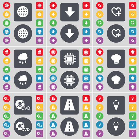 checkpoint: Globe, Arrow down, Heart, Cloud, Processor, Cooking hat, DVD, Road, Checkpoint icon symbol. A large set of flat, colored buttons for your design. Vector illustration
