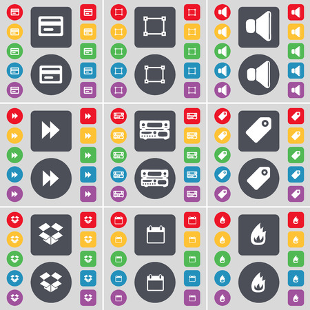 dropbox: Credit card, Frame, Sound, Rewind, Record-player, Tag, Dropbox, Calendar, Fire icon symbol. A large set of flat, colored buttons for your design. Vector illustration