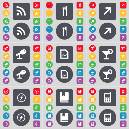 mobile phone icon: RSS, Fork and knife, Full screen, Microphone, Graph file, Cocktail, Flash, Dictionary, Mobile phone icon symbol. A large set of flat, colored buttons for your design. Vector illustration Illustration