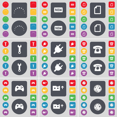 retro telefon: Stars, New, File, Wrench, Socket, Retro phone, Gamepad, Cassette, Pizza icon symbol. A large set of flat, colored buttons for your design. Vector illustration Illustration