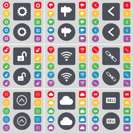 link up: Gear, Signpost, Arrow left, Lock, Wi-Fi, Link, Arrow up, Cloud, Sell icon symbol. A large set of flat, colored buttons for your design. Vector illustration