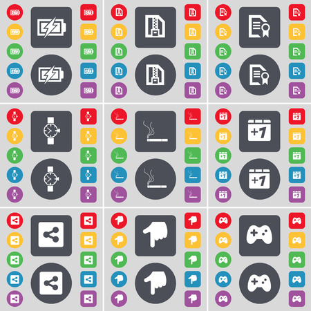 file share: Charging, ZIP file, File, Wrist watch, Cigarette, Plus one, Share, Hand, Gamepad icon symbol. A large set of flat, colored buttons for your design. Vector illustration Illustration