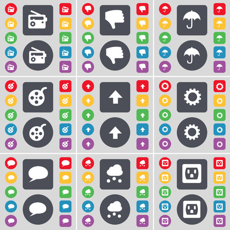 chat up: Radio, Dislike, Umbrella, Videotape, Arrow up, Gear, Chat bubble, Cloud, Socket icon symbol. A large set of flat, colored buttons for your design. Vector illustration