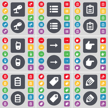 arrow right: Microphone, List, Survey, Mobile phone, Arrow right, Hand, Battery, Tag, Pencil icon symbol. A large set of flat, colored buttons for your design. Vector illustration
