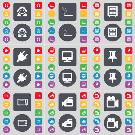 bedtable: Avatar, Cigarette, Bed-table, Socket, Monitor, Pin, Microwave, Film camera icon symbol. A large set of flat, colored buttons for your design. Vector illustration