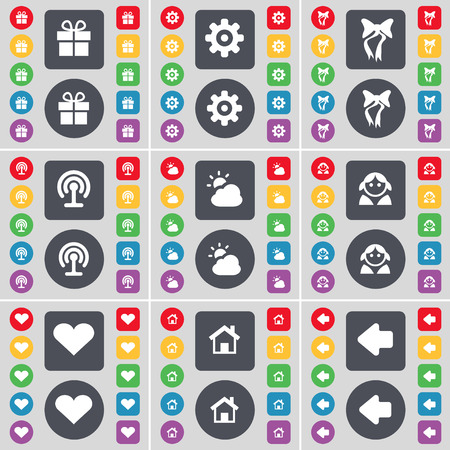 arrow left icon: Gift, Gear, Bow, Wi-Fi, Cloud, Avatar, Heart, House, Arrow left icon symbol. A large set of flat, colored buttons for your design. Vector illustration