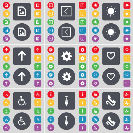 disabled person: Media file, Arrow left, Light, Arrow up, Gear, Heart, Disabled person, Tie, Receiver icon symbol. A large set of flat, colored buttons for your design. Vector illustration Illustration