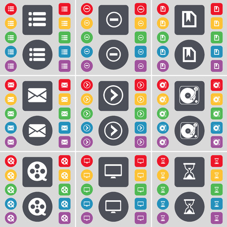 videotape: List, Minus, File, Message, Arrow right, Gramophone, Videotape, Monitor, Hourglass icon symbol. A large set of flat, colored buttons for your design. Vector illustration