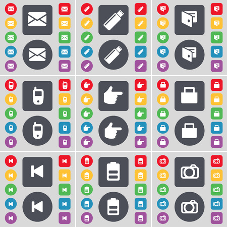 skip: Message, USB, Wallet, Mobile phone, Hand, Lock, Media skip, Battery, Camera icon symbol. A large set of flat, colored buttons for your design. Vector illustration