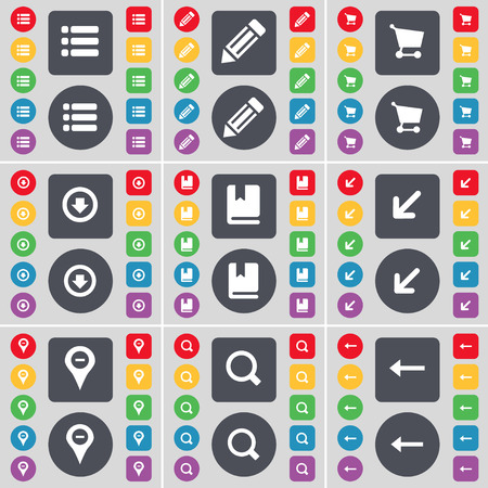 arrow left icon: List, Pencil, Shopping cart, Arrow down, Dictionary, Deploying screen, Checkpoint, Magnifying glass, Arrow left icon symbol. A large set of flat, colored buttons for your design. Vector illustration