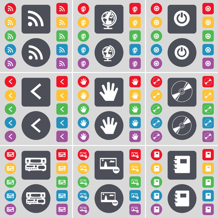 left hand: RSS, Globe, Power, Arrow left, Hand, DVD, Picture, Notebook icon symbol. A large set of flat, colored buttons for your design. Vector illustration
