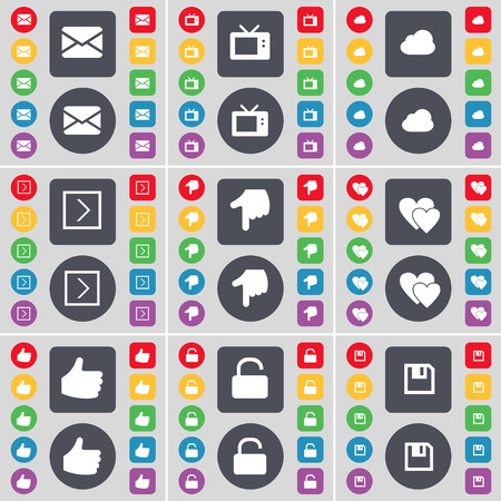 retro tv: Message, Retro TV, Cloud, Arrow right, Hand, Heart, Like, Lock, Floppy icon symbol. A large set of flat, colored buttons for your design. Vector illustration