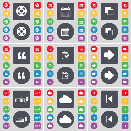 videotape: Videotape, Calendar, Copy, Quotation mark, Survey, Arrow right, Keyboard, Cloud, Media skip icon symbol. A large set of flat, colored buttons for your design. Vector illustration