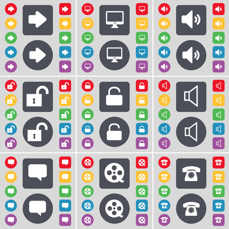 videotape: Arrow right, Monitor, Sound, Lock, Sound, Chat bubble, Videotape, Retro phone icon symbol. A large set of flat, colored buttons for your design. Vector illustration