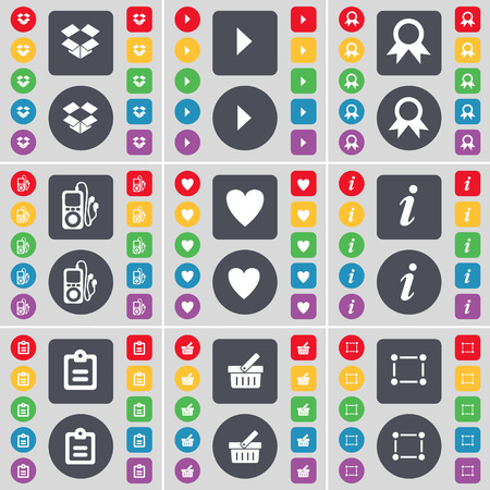 dropbox: Dropbox, Media play, Medal, MP3 player, Heart, Information, Survey, Basket, Frame icon symbol. A large set of flat, colored buttons for your design. Vector illustration