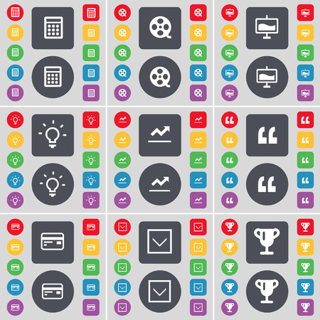 arrow down: Calculator, Videotape, Graph, Light bulb, Quoting mark, Credit card, Arrow down, Cup icon symbol. A large set of flat, colored buttons for your design. Vector illustration