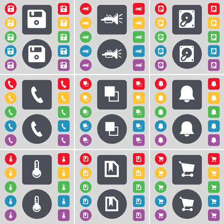 floppy drive: Floppy, Trumped, Hard drive, Receiver, Copy, Notification, Thermometer, File, Shopping cart icon symbol. A large set of flat, colored buttons for your design. Vector illustration Illustration