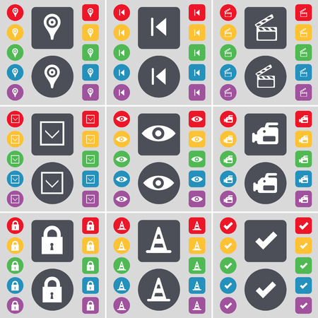 arrow down: Checkpoint, Media skip, Clapper, Arrow down, Vision, Film camera, Lock, Cone, Tick icon symbol. A large set of flat, colored buttons for your design. Vector illustration