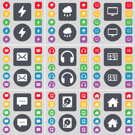 hard drive: Flash, Cloud, Monitor, Message, Headphones, Contact, Chat bubble, Hard drive, House icon symbol. A large set of flat, colored buttons for your design. Vector illustration Illustration