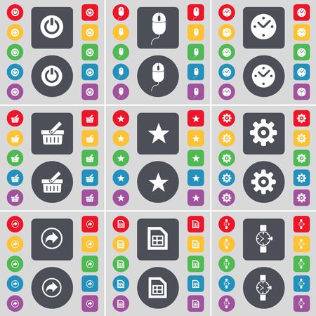 star power: Power, Mouse, Clock, Basket, Star, Gear, Back, File, Wrist watch icon symbol. A large set of flat, colored buttons for your design. Vector illustration Illustration