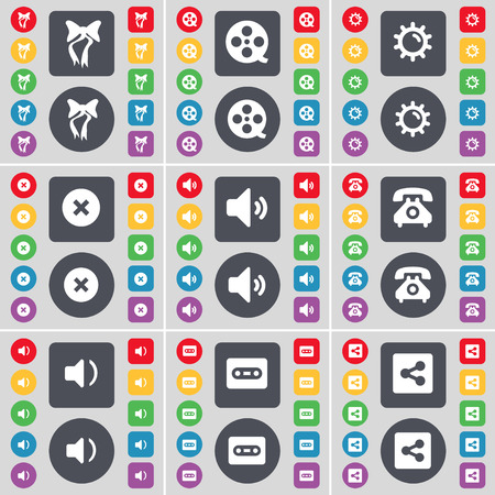 retro telefon: Bow, Videotape, Gear, Stop, Sound, Retro phone, Sound, Cassette, Share icon symbol. A large set of flat, colored buttons for your design. Vector illustration Illustration