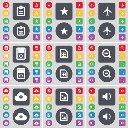mp3 player: Survey, Star, Airplane, MP3 player, File, Minus, Cloud, Sound icon symbol. A large set of flat, colored buttons for your design. Vector illustration Illustration