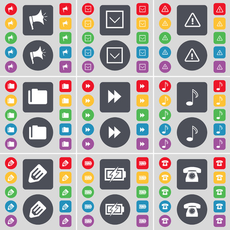 retro telefon: Megaphone, Arrow down, Warning, Folder, Rewind, Note, Pencil, Charging, Retro phone icon symbol. A large set of flat, colored buttons for your design. Vector illustration Illustration