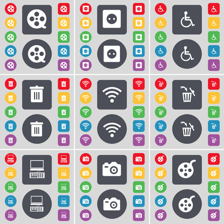videotape: Videotape, Socket, Disabled person, Trash can, Wi-Fi, Laptop, Camera icon symbol. A large set of flat, colored buttons for your design. Vector illustration Illustration