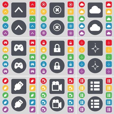 lock up: Arrow up, Stop, Cloud, Gamepad, Lock, Compass, USB, Film camera, List icon symbol. A large set of flat, colored buttons for your design. Vector illustration