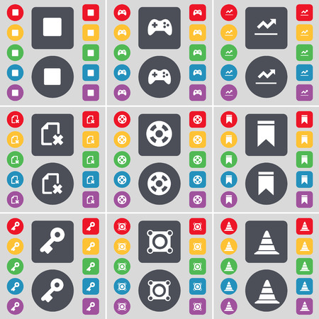 videotape: Media stop, Gamepad, Graph, File, Videotape, Marker, Key, Speaker, Cone icon symbol. A large set of flat, colored buttons for your design. Vector illustration