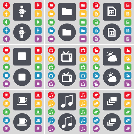 watch tv: Wrist watch, Folder, File, Media stop, Retro TV, Cloud, Cup, Note, Gallery icon symbol. A large set of flat, colored buttons for your design. Vector illustration Illustration