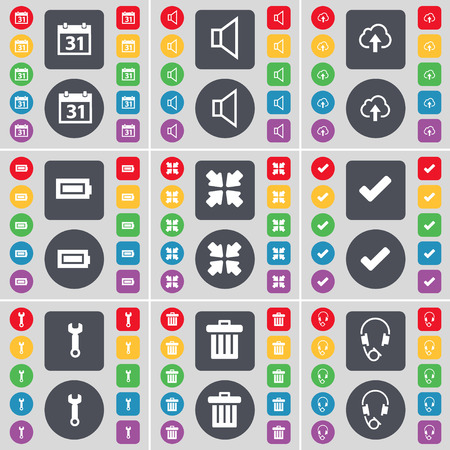 flat screen: Calendar, Sound, Cloud, Battery, Deploying screen, Tick, Wrench, Trash can, Headphones icon symbol. A large set of flat, colored buttons for your design. Vector illustration