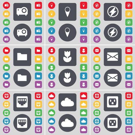 red lan: Proyectores, Checkpoint, Flash, Carpeta, Flor, Mensaje, conexi�n LAN, Nube, Socket icono de s�mbolo. Un gran conjunto de planos botones, colores para su dise�o. Ilustraci�n vectorial Vectores