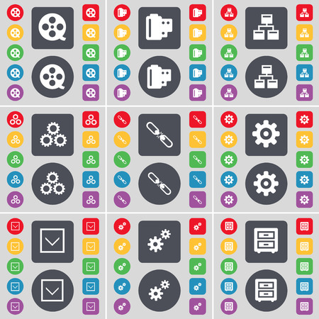 videotape: Videotape, Negative films, Network, Gear, Link, Gear, Arrow down, Bed-table icon symbol. A large set of flat, colored buttons for your design. Vector illustration